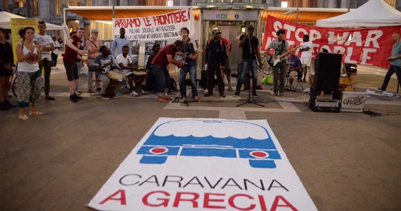 Recibimiento en Milán de la Caravana a Grecia. Foto de Pablo Gabandé